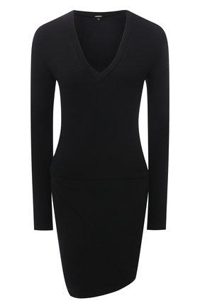 Женское платье из вискозы и хлопка MONROW черного цвета, арт. HD0401 | Фото 1