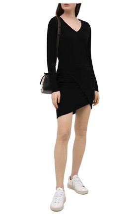 Женское платье из вискозы и хлопка MONROW черного цвета, арт. HD0401 | Фото 2