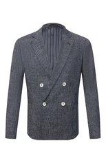 Мужской пиджак изо льна и хлопка GIORGIO ARMANI синего цвета, арт. 8WGGG02F/T02CB | Фото 1