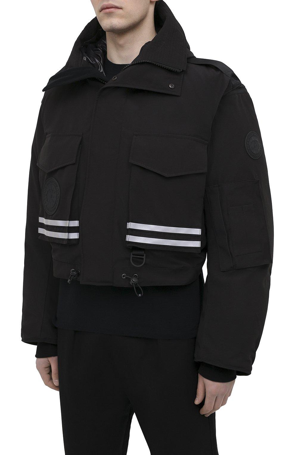 Мужская пуховая парка snow mantra CANADA GOOSE черного цвета, арт. 8800MC   Фото 7 (Кросс-КТ: Куртка; Мужское Кросс-КТ: пуховик-короткий; Рукава: Короткие; Материал внешний: Синтетический материал; Стили: Спорт-шик; Материал подклада: Синтетический материал)