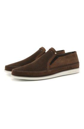 Мужские кожаные слипоны ALDO BRUE темно-коричневого цвета, арт. AB8014G-NS | Фото 1