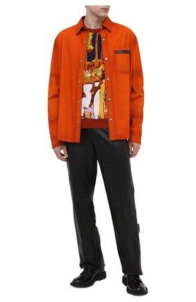 Мужской джемпер из шерсти и шелка BERLUTI разноцветного цвета, арт. R19KRL172-001   Фото 2 (Рукава: Длинные; Материал внешний: Шерсть; Длина (для топов): Стандартные; Принт: С принтом; Стили: Кэжуэл; Мужское Кросс-КТ: Джемперы; Вырез: Круглый)