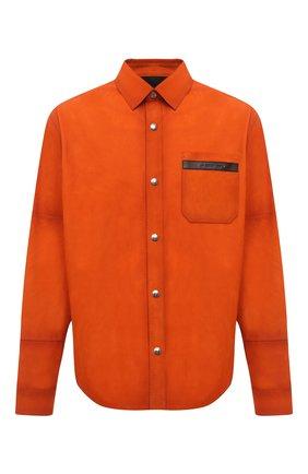 Мужская замшевая рубашка BERLUTI оранжевого цвета, арт. R19LSU25-001   Фото 1 (Рукава: Длинные; Материал подклада: Синтетический материал; Длина (для топов): Стандартные; Случай: Повседневный; Манжеты: На кнопках; Принт: Однотонные; Воротник: Кент; Стили: Кэжуэл; Материал внешний: Замша)
