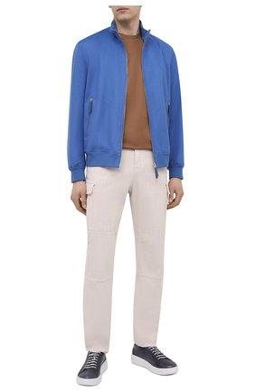 Мужские кожаные кеды W.GIBBS темно-синего цвета, арт. 0400037/2106 | Фото 2 (Материал внутренний: Натуральная кожа; Подошва: Массивная)