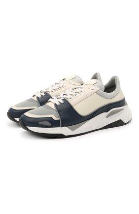 Мужские комбинированные кроссовки CANALI синего цвета, арт. 191215/RY00530   Фото 1 (Материал внутренний: Натуральная кожа, Текстиль; Подошва: Массивная; Стили: Спорт)