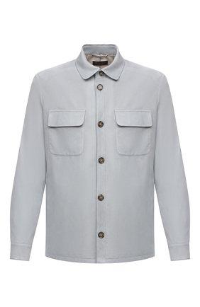 Мужская замшевая куртка LORO PIANA серого цвета, арт. FAL6174 | Фото 1 (Длина (верхняя одежда): Короткие; Материал подклада: Хлопок; Рукава: Длинные; Кросс-КТ: Куртка; Мужское Кросс-КТ: Кожа и замша; Стили: Кэжуэл; Материал внешний: Замша)