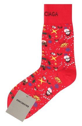 Мужские хлопковые носки BALENCIAGA красного цвета, арт. 641570/4A4B4 | Фото 1 (Материал внешний: Хлопок; Кросс-КТ: бельё)