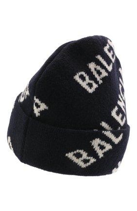 Мужская шерстяная шапка BALENCIAGA синего цвета, арт. 621021/T1567 | Фото 2 (Материал: Шерсть; Принт: С принтом; Кросс-КТ: Трикотаж)