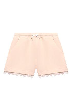 Детские хлопковые шорты CHLOÉ светло-розового цвета, арт. C14659 | Фото 1