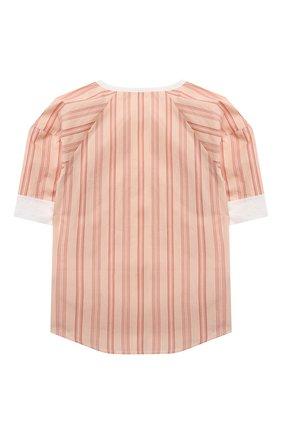 Детское хлопковая блузка CHLOÉ коричневого цвета, арт. C15B71 | Фото 2