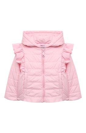Детского куртка с капюшоном MONNALISA розового цвета, арт. 377100   Фото 1