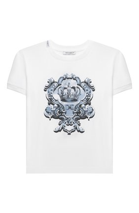Детская хлопковая футболка DOLCE & GABBANA белого цвета, арт. L4JT8A/G7YBK/2-6 | Фото 1