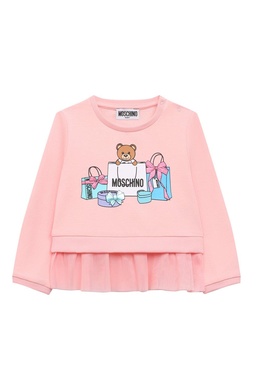 Детский хлопковый свитшот MOSCHINO розового цвета, арт. MDF025/LDA00 | Фото 1