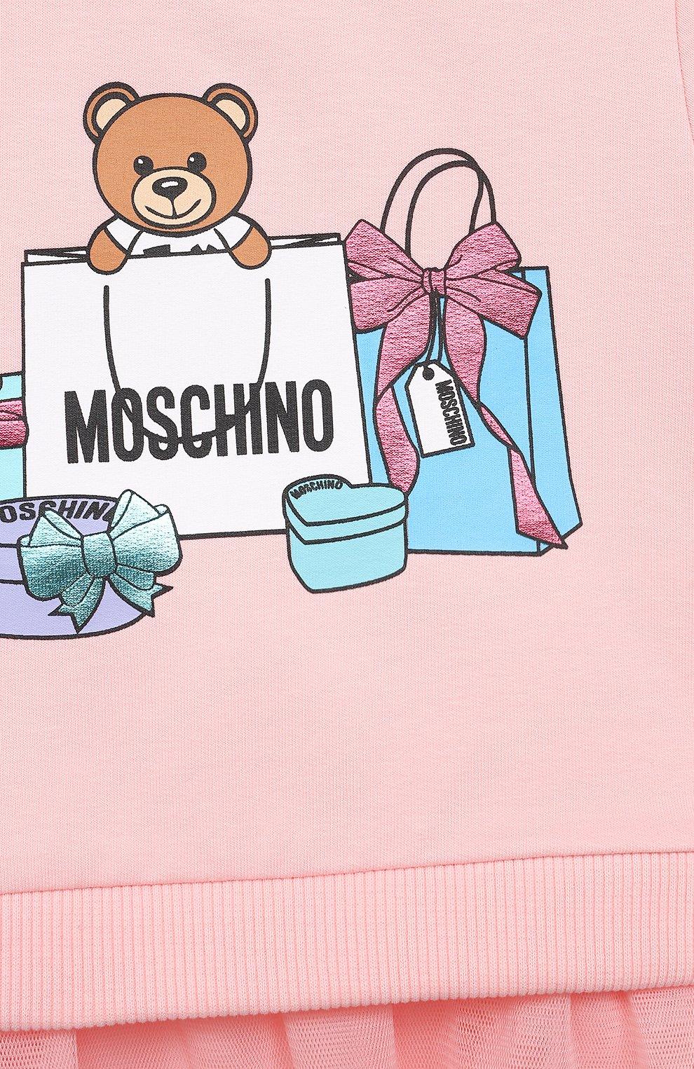 Детский хлопковый свитшот MOSCHINO розового цвета, арт. MDF025/LDA00 | Фото 3