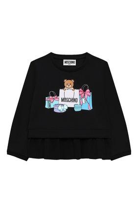 Детский хлопковый свитшот MOSCHINO черного цвета, арт. MDF025/LDA00 | Фото 1