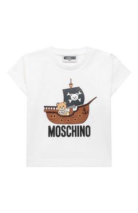 Детский комплект из футболки и шорт MOSCHINO белого цвета, арт. MUG009/LBA08 | Фото 2 (Рукава: Короткие; Ростовка одежда: 12 мес | 80 см, 18 мес | 86 см, 24 мес | 92 см, 36 мес | 98 см)