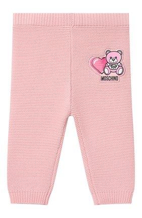Детские хлопковые брюки MOSCHINO розового цвета, арт. MUP03M/LHE13 | Фото 1 (Материал внешний: Хлопок; Ростовка одежда: 3 мес | 62 см, 6 мес | 68 см, 9 мес | 74 см)