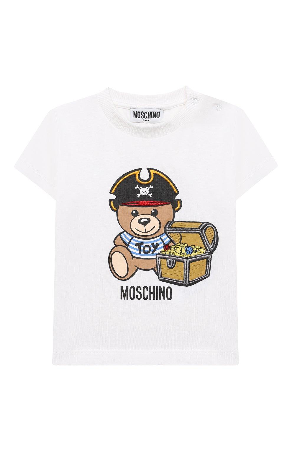 Детский хлопковая футболка MOSCHINO белого цвета, арт. MWM02A/LBA08   Фото 1
