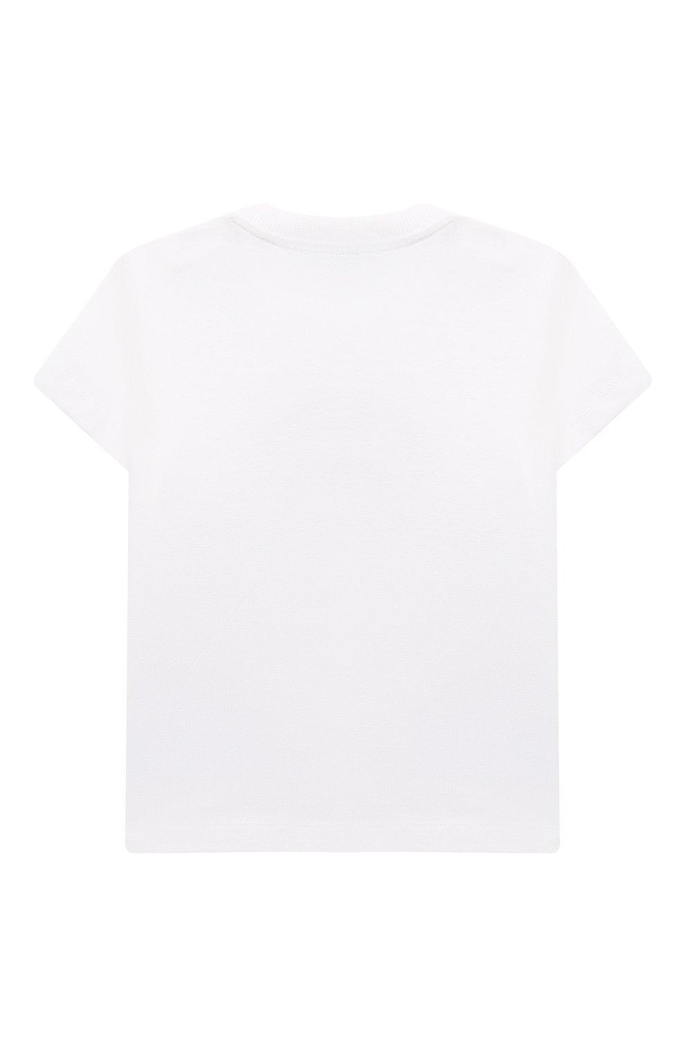 Детский хлопковая футболка MOSCHINO белого цвета, арт. MWM02A/LBA08   Фото 2