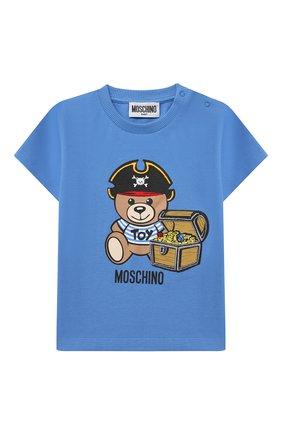 Детский хлопковая футболка MOSCHINO синего цвета, арт. MWM02A/LBA08 | Фото 1 (Материал внешний: Хлопок; Рукава: Короткие; Ростовка одежда: 12 мес | 80 см, 18 мес | 86 см, 24 мес | 92 см, 36 мес | 98 см)