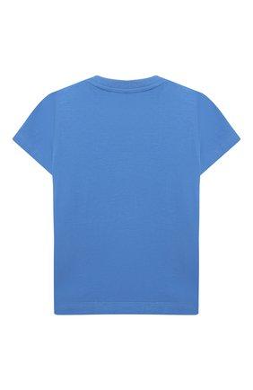 Детский хлопковая футболка MOSCHINO синего цвета, арт. MWM02A/LBA08 | Фото 2 (Материал внешний: Хлопок; Рукава: Короткие; Ростовка одежда: 12 мес | 80 см, 18 мес | 86 см, 24 мес | 92 см, 36 мес | 98 см)