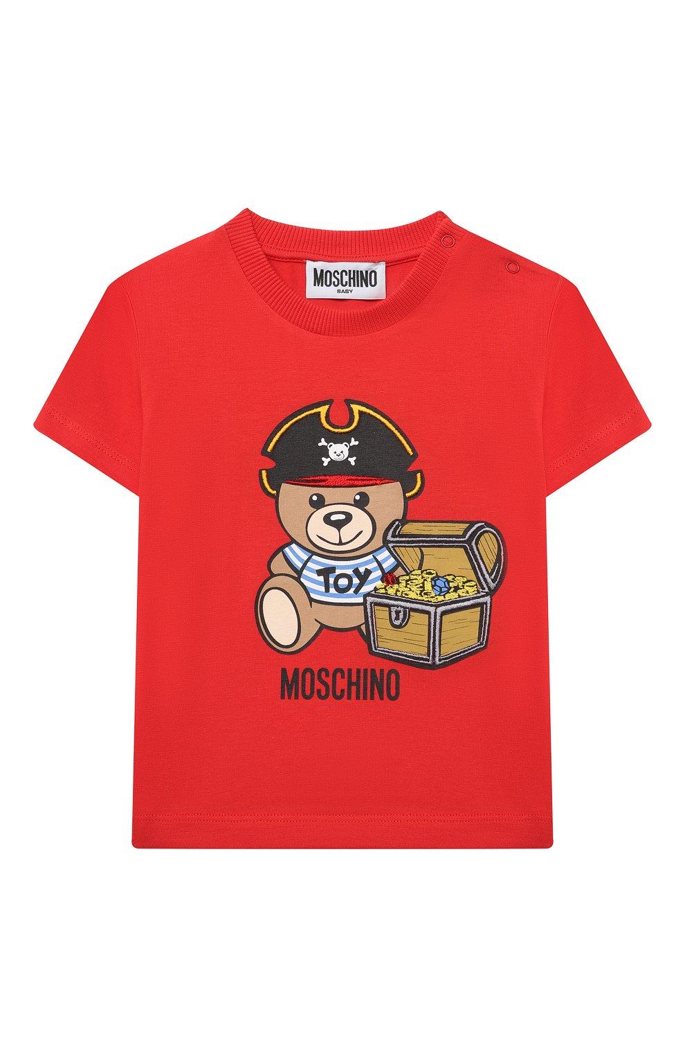 Детский хлопковая футболка MOSCHINO красного цвета, арт. MWM02A/LBA08 | Фото 1 (Рукава: Короткие; Материал внешний: Хлопок; Ростовка одежда: 12 мес | 80 см, 18 мес | 86 см, 24 мес | 92 см, 36 мес | 98 см)