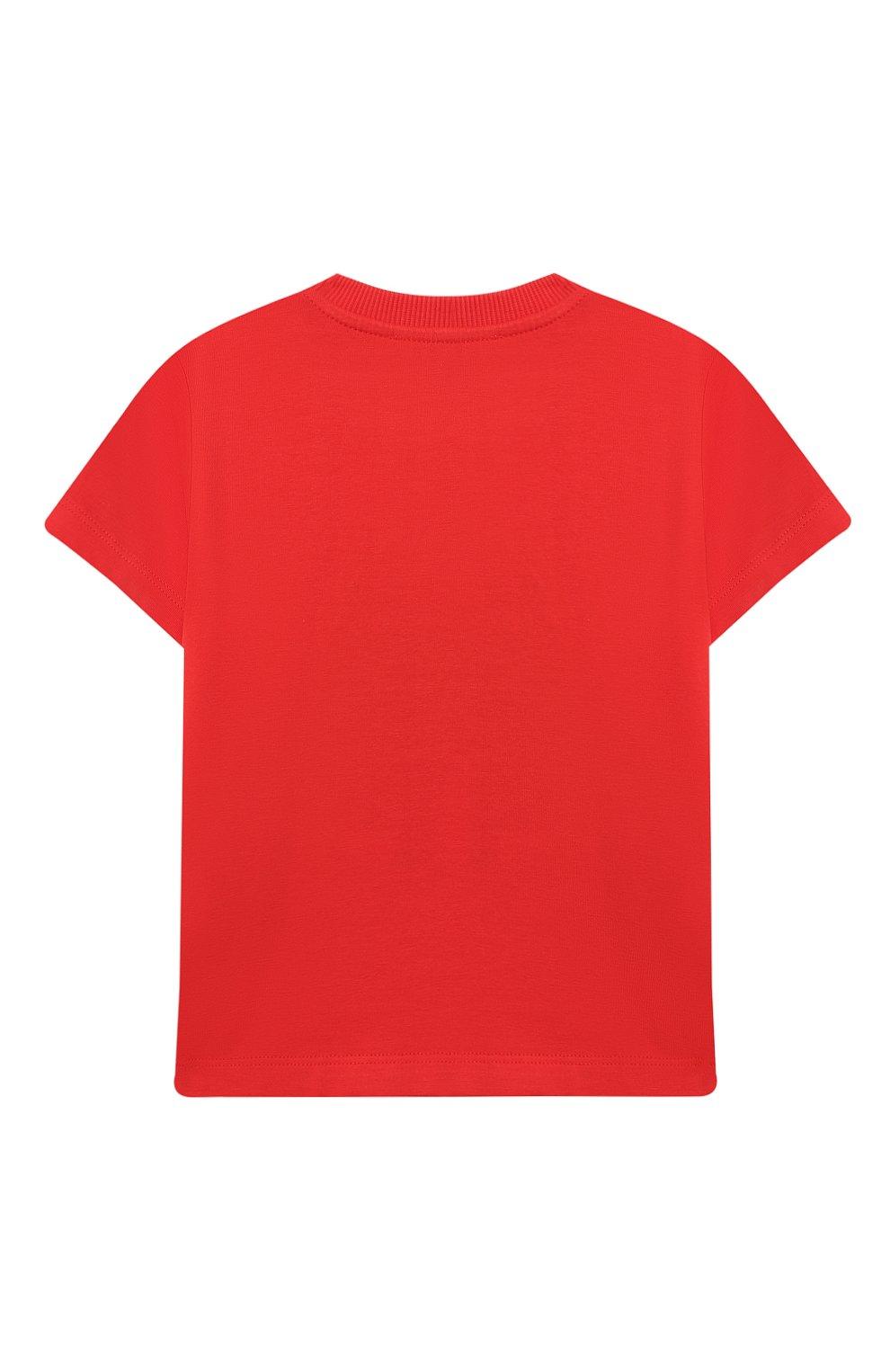 Детский хлопковая футболка MOSCHINO красного цвета, арт. MWM02A/LBA08 | Фото 2 (Рукава: Короткие; Материал внешний: Хлопок; Ростовка одежда: 12 мес | 80 см, 18 мес | 86 см, 24 мес | 92 см, 36 мес | 98 см)
