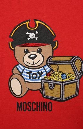 Детский хлопковая футболка MOSCHINO красного цвета, арт. MWM02A/LBA08 | Фото 3 (Рукава: Короткие; Материал внешний: Хлопок; Ростовка одежда: 12 мес | 80 см, 18 мес | 86 см, 24 мес | 92 см, 36 мес | 98 см)