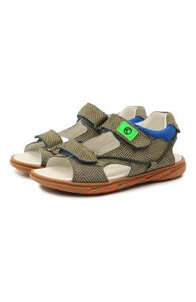 Детские кожаные сандалии RONDINELLA хаки цвета, арт. 0986/6395/31-33 | Фото 1