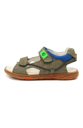 Детские кожаные сандалии RONDINELLA хаки цвета, арт. 0986/6395/34-36   Фото 2