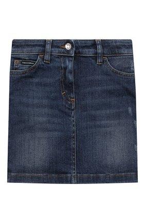 Детская джинсовая юбка DOLCE & GABBANA темно-синего цвета, арт. L53I42/LD954/2-6   Фото 1 (Материал внешний: Хлопок; Кросс-КТ: Деним; Ростовка одежда: 2 года   92 см, 3 года   98 см, 4 года   104 см, 5 лет   110 см, 6 лет   116 см)