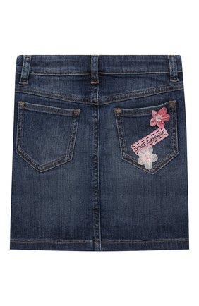 Детская джинсовая юбка DOLCE & GABBANA темно-синего цвета, арт. L53I42/LD954/2-6   Фото 2 (Материал внешний: Хлопок; Кросс-КТ: Деним; Ростовка одежда: 2 года   92 см, 3 года   98 см, 4 года   104 см, 5 лет   110 см, 6 лет   116 см)