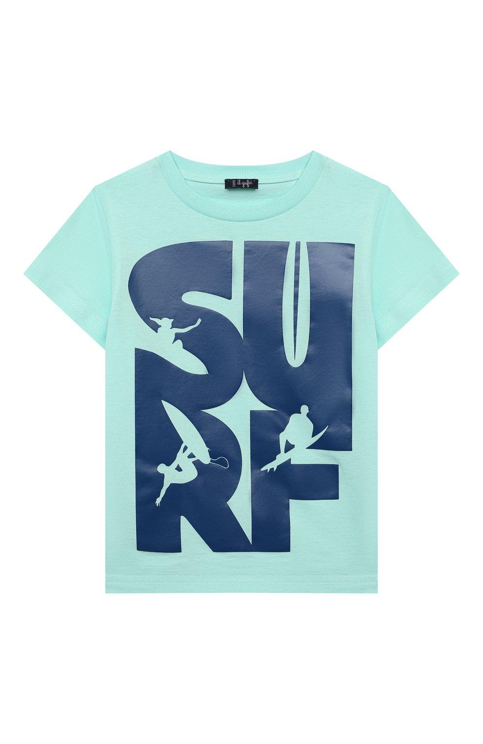 Детская хлопковая футболка IL GUFO бирюзового цвета, арт. P21TS271M0014/2A-4A | Фото 1