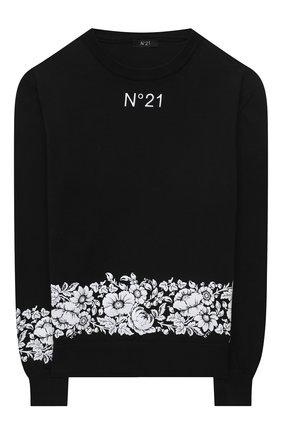 Детский хлопковый пуловер N21 черного цвета, арт. N21039/N0068/N21K42M | Фото 1