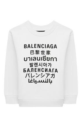 Детский хлопковый свитшот BALENCIAGA белого цвета, арт. 558145/TJVM3   Фото 1