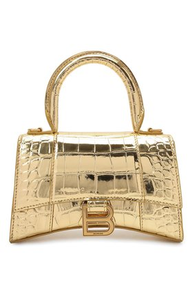 Женская сумка hourglass xs BALENCIAGA золотого цвета, арт. 592833/1S49M | Фото 1 (Сумки-технические: Сумки через плечо, Сумки top-handle; Ремень/цепочка: На ремешке; Материал: Натуральная кожа; Размер: mini)