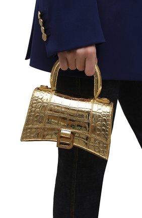 Женская сумка hourglass xs BALENCIAGA золотого цвета, арт. 592833/1S49M | Фото 2 (Сумки-технические: Сумки через плечо, Сумки top-handle; Ремень/цепочка: На ремешке; Материал: Натуральная кожа; Размер: mini)