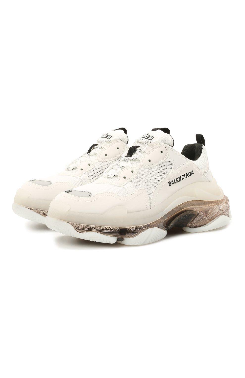 Женские комбинированные кроссовки triple s BALENCIAGA белого цвета, арт. 544351/W2GS1 | Фото 1 (Материал внешний: Текстиль; Подошва: Платформа; Материал внутренний: Текстиль)