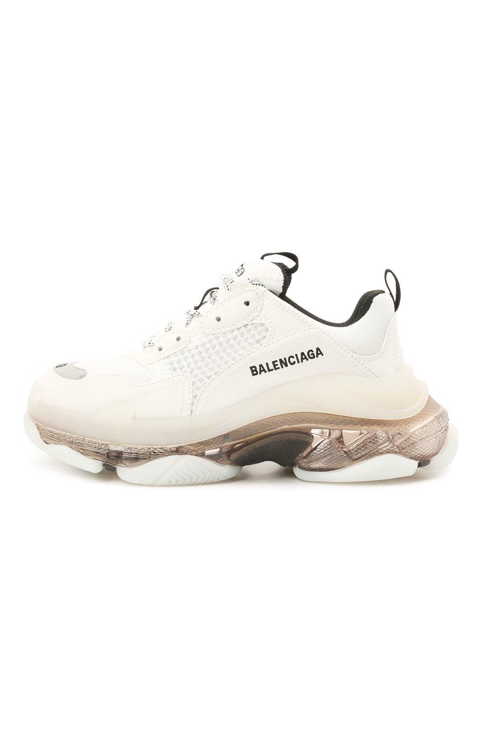 Женские комбинированные кроссовки triple s BALENCIAGA белого цвета, арт. 544351/W2GS1 | Фото 3 (Материал внешний: Текстиль; Подошва: Платформа; Материал внутренний: Текстиль)