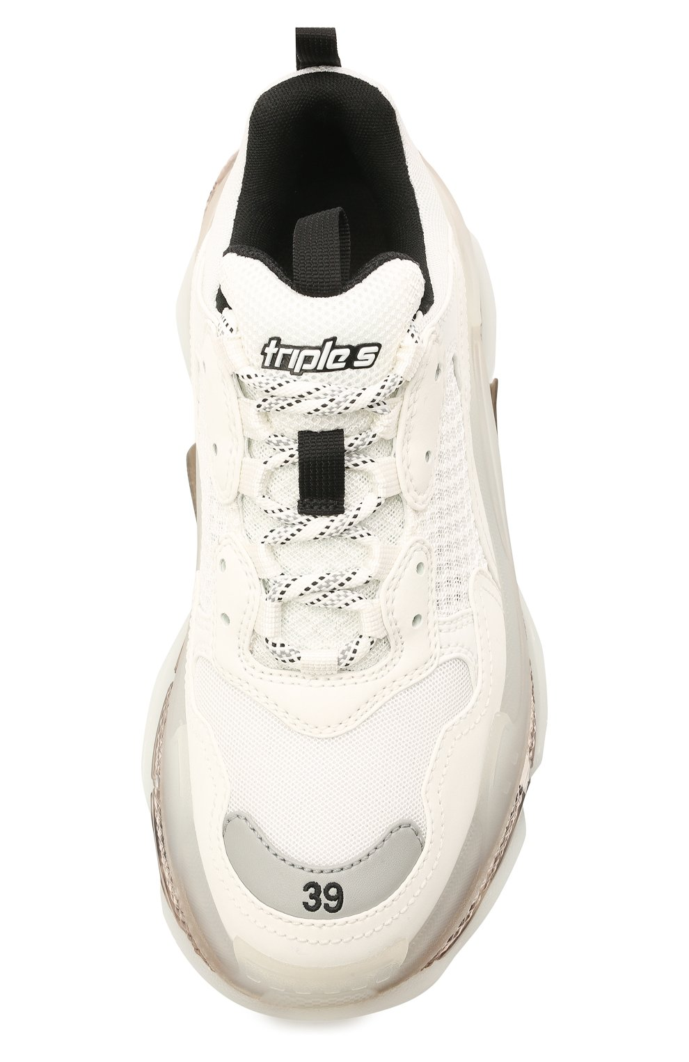 Женские комбинированные кроссовки triple s BALENCIAGA белого цвета, арт. 544351/W2GS1 | Фото 5 (Материал внешний: Текстиль; Подошва: Платформа; Материал внутренний: Текстиль)
