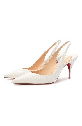 Женские кожаные туфли clare sling 80 CHRISTIAN LOUBOUTIN белого цвета, арт. 3200041/CLARE SLING 80   Фото 1