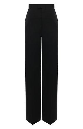 Женские шерстяные брюки BOTTEGA VENETA черного цвета, арт. 653518/VKIS0 | Фото 1 (Материал внешний: Шерсть; Длина (брюки, джинсы): Удлиненные; Силуэт Ж (брюки и джинсы): Широкие; Стили: Кэжуэл; Женское Кросс-КТ: Брюки-одежда)