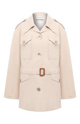 Женская хлопковая куртка ACNE STUDIOS кремвого цвета, арт. A90347   Фото 1