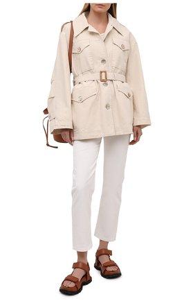 Женская хлопковая куртка ACNE STUDIOS кремвого цвета, арт. A90347   Фото 2