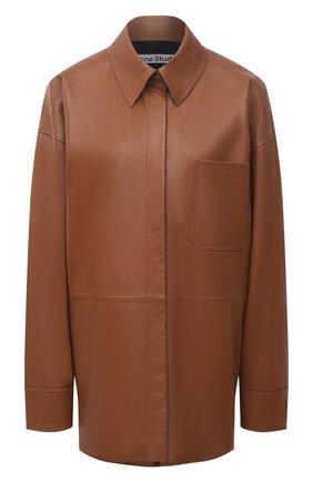 Женская кожаная рубашка ACNE STUDIOS кремвого цвета, арт. A70091 | Фото 1
