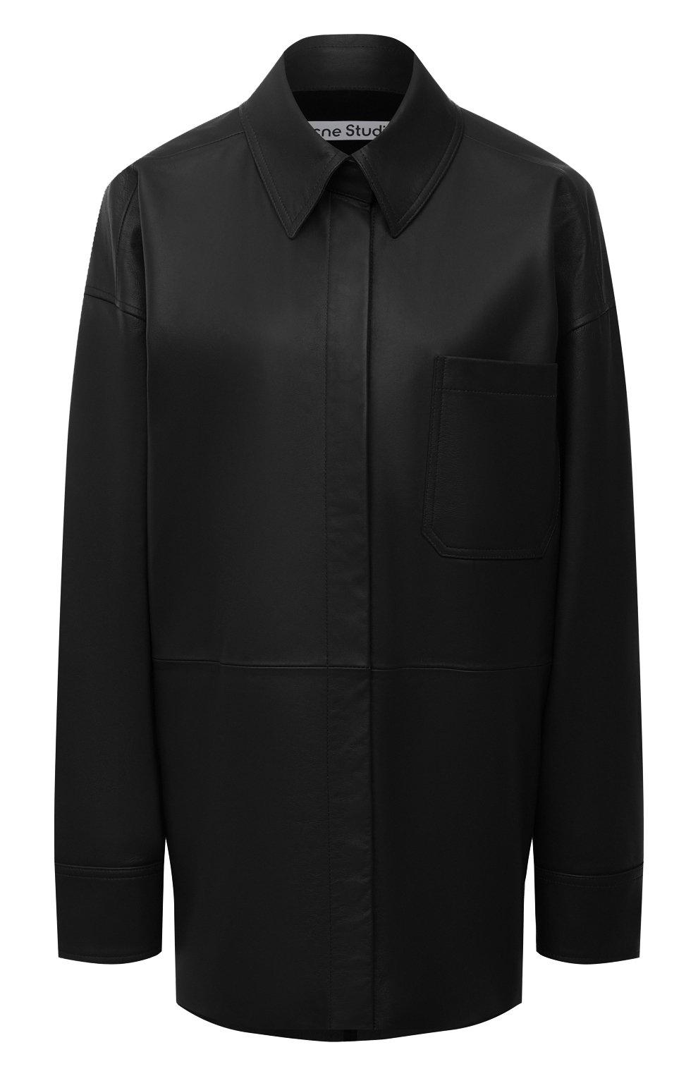 Женская кожаная рубашка ACNE STUDIOS черного цвета, арт. A70091   Фото 1