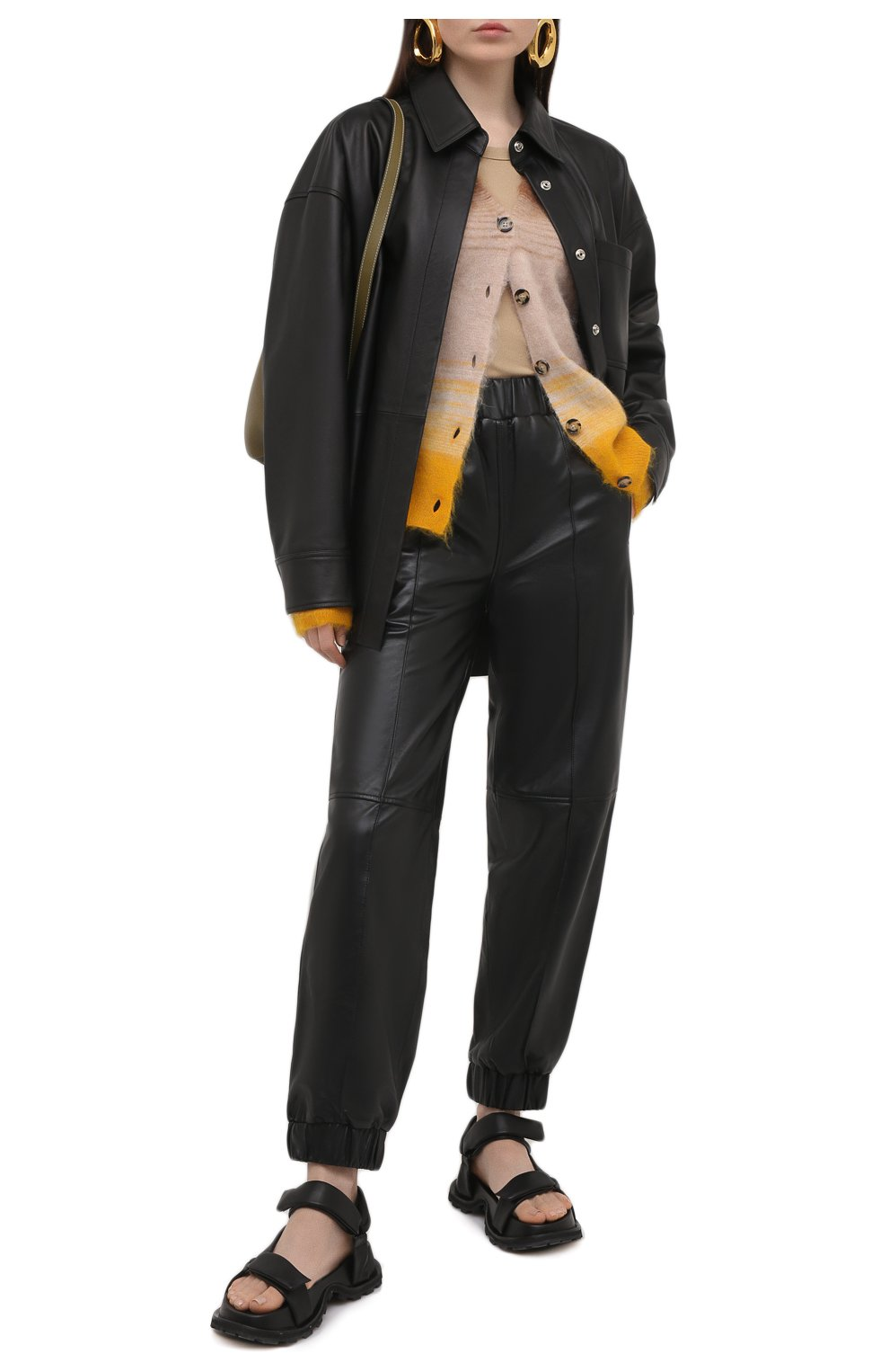 Женская кожаная рубашка ACNE STUDIOS черного цвета, арт. A70091   Фото 2