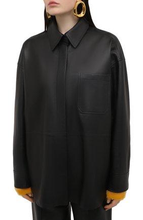 Женская кожаная рубашка ACNE STUDIOS черного цвета, арт. A70091   Фото 3