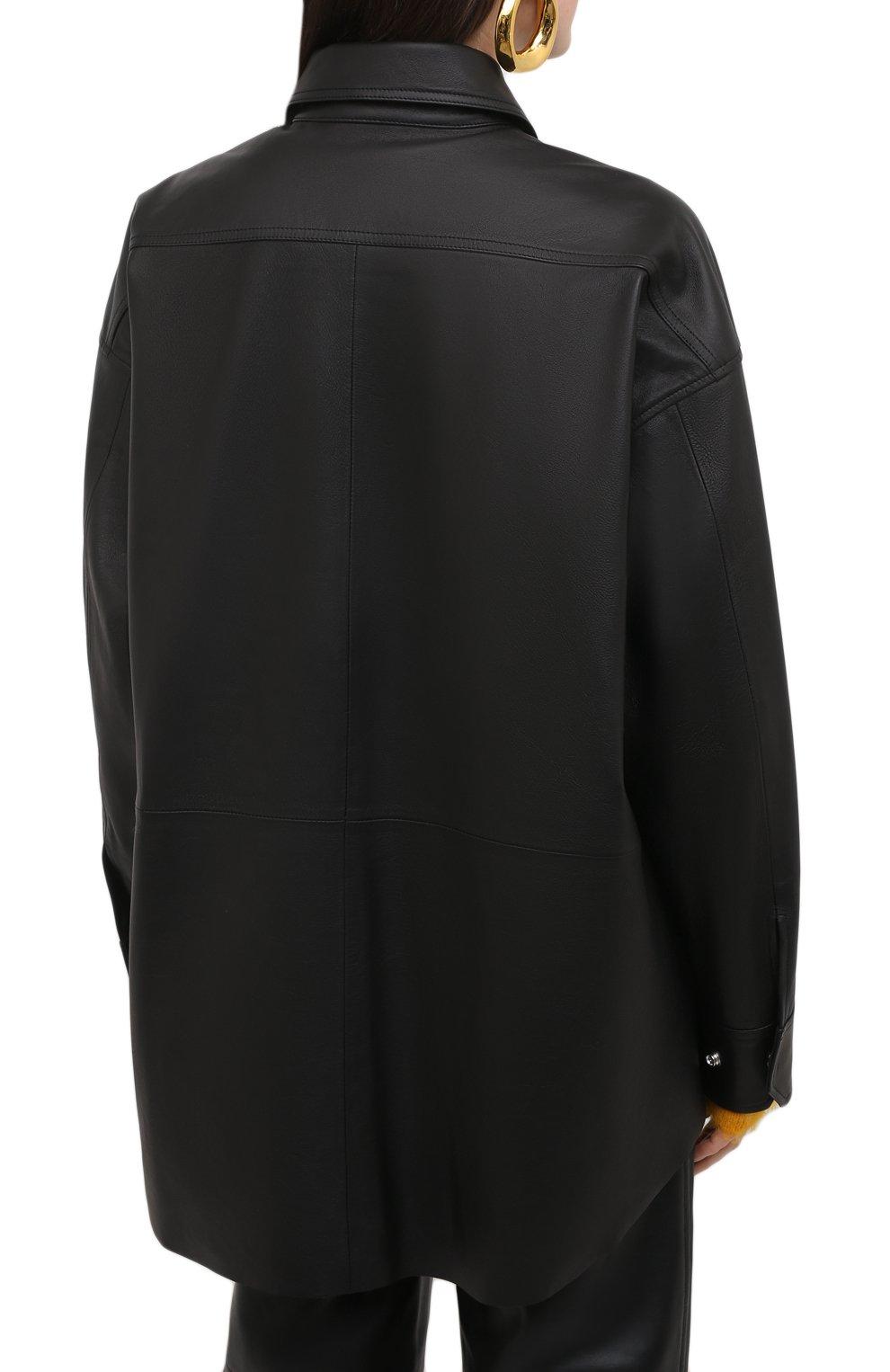 Женская кожаная рубашка ACNE STUDIOS черного цвета, арт. A70091   Фото 4