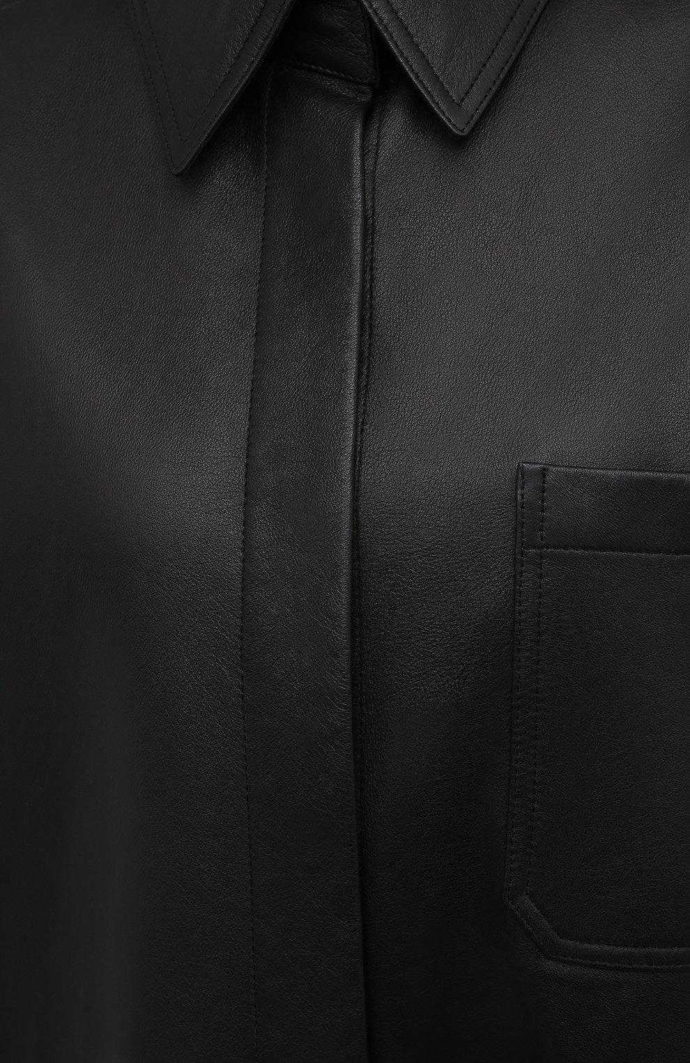 Женская кожаная рубашка ACNE STUDIOS черного цвета, арт. A70091   Фото 5